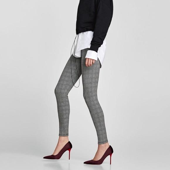 33ef64661f2924 Zara Pants   Checked Leggings   Poshmark